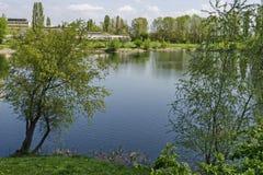Early springtime green on a beauty lake in district Drujba. Sofia, Bulgaria stock image