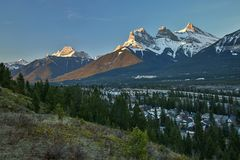 Early springtime scenery of Canmore surrending, Canada. Three sisters peak, hiking canada, Benchlands terrace viewpoint, beatiful canadian mountains royalty free stock photos