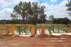 House construction early stages. Building process of an Australian family home in the early stages Royalty Free Stock Images