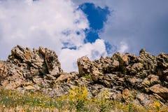 Sunny rocks in Hercinian Macin mountains. Field flowers royalty free stock photos