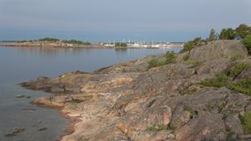 Early summer morning in the harbor of the peninsula of Hanko, Finland stock video