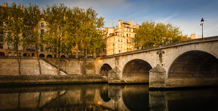 Early summer morning on Ile Saint Louis and Pont Marie - Paris Royalty Free Stock Photography