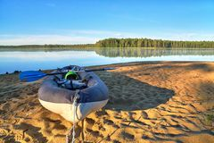 Free Early Summer Morning In Kayak Hiking On The Lake Beach Stock Photo - 114123200