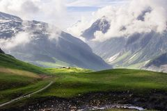 Green Alpine fields and meadows, snowy peaks in the European French Alps royalty free stock photo