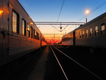 Early morning at the railroad station Royalty Free Stock Photography