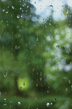 Early summer rainy day, rain drops on window glass, large detailed vertical macro closeup Royalty Free Stock Images