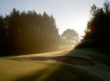 Early sunrise on a golf course. The first rays of winter sunlight melt the frost on the golf course next to a bunker royalty free stock photography