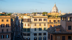 Early sunset view on Rome with San Carlo al Corso dome and piazza di Spagna, Italy Royalty Free Stock Images