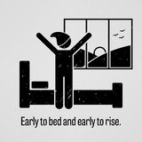 Early to Bed and Early to Rise. A motivational and inspirational poster representing the proverb sayings, Early to Bed and Early to Rise with simple human Stock Image