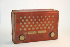 Early Transistor Radio - Portable. This early 1950's transistor radio was a kit-build for home hobbyists. While its leather case is well-worn, it still operates Stock Photos