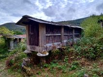 Early twentieth century elevated barns in Ourense Galicia Spain. Early twentieth century elevated barns in Ourense Galicia Spain during a cloudy day stock photos