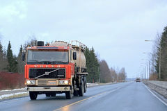 Early Volvo F12 Tank Truck on the Road. SALO, FINLAND - JANUARY 17, 2015: Early Volvo F12 tank truck on the road. Volvo F12 belongs to the F series manufactured Royalty Free Stock Images