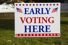 Free EARLY VOTING HERE Sign Royalty Free Stock Image - 129693536