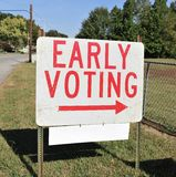 Early Voting Sign. An early voting sign pointing towards a location where people can vote early for an election royalty free stock photos