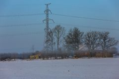 Early winter, cold misty morning royalty free stock photos