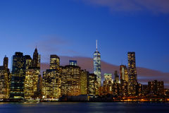Early winter evening on the New York Skyline as viewed from the Royalty Free Stock Image