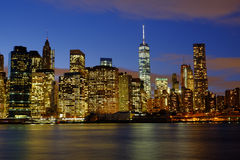 Early winter evening on the New York Skyline as viewed from the Stock Images