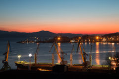 Early winter morning in the port of Nakhodka, Russia. Royalty Free Stock Image
