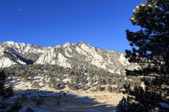 Early winter morning scenery of the Flatirons Mountain. This image was taken from the vicinity of the National Research for Atmospheric Research in Boulder Royalty Free Stock Photos