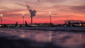 Early winter morning in Sheremetyevo Airport, Moscow stock video footage