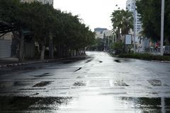 Empty Wet Winter Street Royalty Free Stock Photography