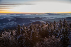 Early winter morning view on Sumava Czech Royalty Free Stock Image