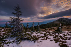 Early winter on mountains. Sunset over the Carpathians mountains in a very early winter day - it was October Stock Photography