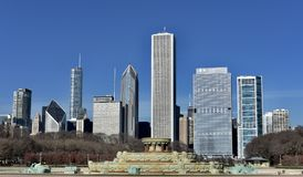 Early Winter Skyline. This is an early Winter picture of the winterized iconic Buckingham Fountain with the iconic North skyline looming in the background under Royalty Free Stock Photo