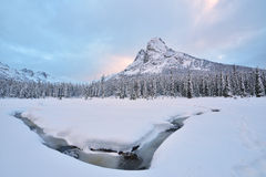 Early Winter Snow Covered Liberty Bell Mountain Stock Image