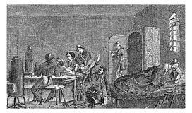 Early XIX century: student karzer detention room. 1829 - 1830, student life, karzer: detention room to incarcerate students as a punishment. Karzers existed both royalty free illustration