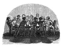 Early XIX century, students leisure time at the pub. 1820-1830 student life, together in tavern stock illustration