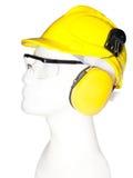Earmuff, eyewear, helmet. Earmuff, eyewear and helmet on mannequin (with clipping paths stock photo