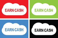 EARN CASH text, on cloud bubble sign. Stock Photography