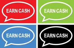 EARN CASH text, on ellipse speech bubble sign. Royalty Free Stock Photography