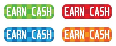 EARN CASH text, on rectangle, zig zag pattern stamp sign. Stock Photos