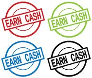 EARN CASH text, on round simple stamp sign. Royalty Free Stock Photography