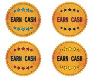 EARN CASH text, on round wavy border vintage, stamp badge. Stock Image