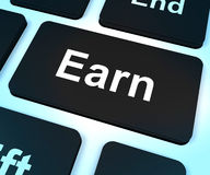 Earn Computer Key Showing Working And Earning Stock Photo