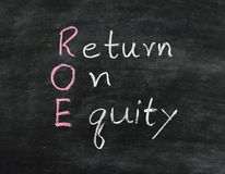 Earn concept ROE. Earn concept Return on equity written on blackboard Royalty Free Stock Images
