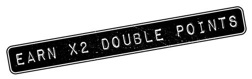 Earn X2 Double Points rubber stamp Royalty Free Stock Photography