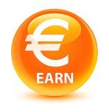 Earn (euro sign) glassy orange round button Stock Photo