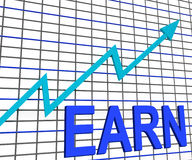 Earn Graph Chart Shows Increase Earnings Growing Royalty Free Stock Photo