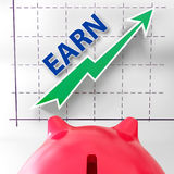 Earn Graph Means Rising Income Gain And Profits Royalty Free Stock Photos