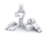 Earn money, Euro. Man with packs of Euro, earn money vector illustration
