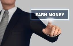 Earn money pushing concept 3d illustration. Earn money with finger pushing concept 3d illustration stock photo