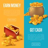 Earn money and get cash posters. Golden coins in old bronze pot and purse. Big profit and save money banner, money making concept, bank deposit, financial Royalty Free Stock Images