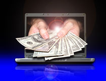 Earn money from internet. You can make payment or earning money from internet Royalty Free Stock Image