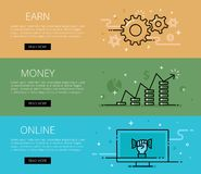Earn Money On-line. Line vector web banners set Royalty Free Stock Photos