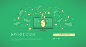 Earn money online linear web illustration Stock Photography
