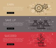 Earn. Save Up. Succeed. Flat line vector web banners set Royalty Free Stock Photography